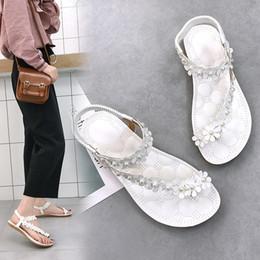 SandalS flower covering toe online shopping - Overseas2019 Set Bottom Flat Toe Beach Joker Casual Shoes Flower Will Sandals