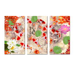 contemporary frames canvas prints Australia - Original Contemporary 3 Pcs Giclee Print On Canvas Wall Art China's Wind Feng Shui Koi Fish Painting Living Room Office Home Decor HYL-A1015
