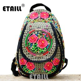 $enCountryForm.capitalKeyWord NZ - Chinese Hmong Boho Indian Thai Embroidery Brand Logo Backpack Handmade Embroidered Canvas Ethnic Travel Rucksack Sac a Dos Femme