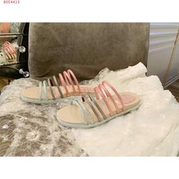 decorating lace 2020 - 2020 summer sandals classic style Pink gold color flat stripe color diamond design decorates women slippers Affordable B