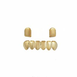 dental gold teeth Canada - Glossy Copper Dental Grillz Punk Vampire Canine Teeth Jewelry Set Hip Hop Women & Men Gold Plated Grills Accessories Hot Sale