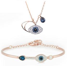 87b72a680581 Classic Evil Eye Pulsera y collar de joyería para mujeres niñas conjunto de  joyas Mejor regalo Plata Oro rosa 2 Colores 925 Plata Esterlina Chapado Ch