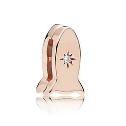 Space charmS online shopping - New Sterling Silver Reflexions Space Rocket Clip Charm Rose Gold Clear CZ Jewelry Women Charming Fashion Gift CZ