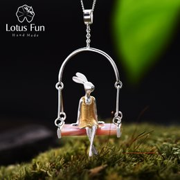 Fun Pendant Australia - Lotus Fun Real 925 Sterling Silver Natural Shell Creative Handmade Fine Jewelry Miss Rabbit Pendant without Chain Acessorios C18112301