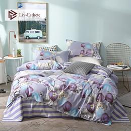 $enCountryForm.capitalKeyWord Australia - Liv-Esthete Fashion Purple Flower Bedding Set Double Queen King Duvet Cover Pillowcase Striped Flat Sheet Bed Linen For Adult