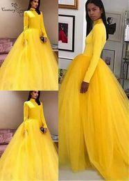 $enCountryForm.capitalKeyWord Australia - Modest Yellow Prom Dresses Long Sleeves 2019 High Neck Zipper Back Sweep Train Ball Gown Party Dresses Vestidos De Festa Cheap