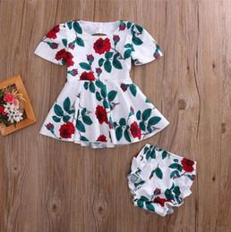 $enCountryForm.capitalKeyWord Australia - newborn baby girl dress + underwear two-piece outfit rose cotton backless summer flower clothes lovely kid clothing tutu skirt 6M-4Y B11