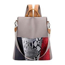 Anti-hırsızlık Oxford Sırt Çantası Genç Kızlar Için Su Geçirmez Kadın Sırt Çantası Yılan Derisi Seyahat Kitap Backbag Sırt Çantası Mochila dos Femme # 308857 indirimde