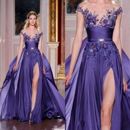 prom dress chiffon slit crystal Australia - 2020 Purple Zuhair Murad Long Chiffon Side Slit Prom Dresses With Appliques Sexy Sheer Scoop Capped Sleeves A-Line Evening Party Dress