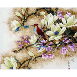 oil paint number framed UK - Cheap & Calligraphy RUOPOTY diy frame Bird Flower DIY Painting By Numbers Calligraphy Painting Modern Wall Art Canvas For Home Decors