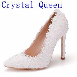 ae607d4c644 wholesale Sweet Flower Women Pumps High Heels Lace Platform Pearls Wedding  Shoes Bride Dress Shoes 11cm Height Eveing Pumps