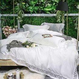 Queen Size Grey Bedding NZ - 600TC Egyptian Cotton White Grey Bedding Set Queen King size Bed set Bed sheet Bedlinen Duvet cover parrure de lit ropa de cama