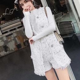 301caca141 High quality Women Sets Autumn Women 2 Piece Set White tweed diamond buttons  long vest coat and Shorts Two Pieces Female Suits