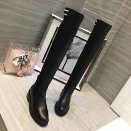 Wholesale Top Designer Womens Luxury Pointed Sock Boots Brown Black Leather Thigh High Boots For Women Italy Knee Fashion Boot With Box