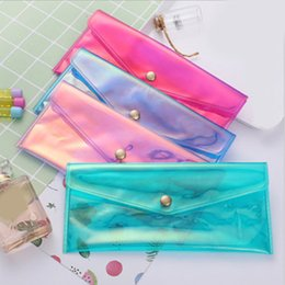 Discount magic pencils - Transparent Simple Pencil Bag Korea Colorful Magic Color Film Reflective Student Stationery Bag Large Capacity Pencil Ca