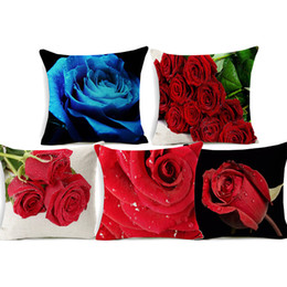 $enCountryForm.capitalKeyWord UK - Red Rose Flower Tulip Cushion Cover 3D Floral Beige Linen Pillow Covers 45X45cm Decorative Sofa Chair Pillow Case