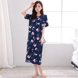 Long Sleeved Nightgowns Australia - YF290 cotton ladies pajamas summer new short-sleeved nightdress long home service