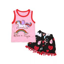 $enCountryForm.capitalKeyWord UK - Toddler Baby Girls Unicorn Tees Floral Rainbow Tassel Shorts Believe in magic Letters Printing 2pcs Outfits Princess Girls Sleeveless Suits