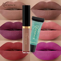 Lipstick Gel Australia - NICEFACE Long-lasting Waterproof Lip Gloss lipstick + Cleansing Gel Set