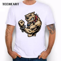 Wholesale Mad Dog Pit Bull Muscles Gym Crossfit Bad Boy Funny Joke Men T Shirt Tee