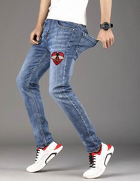 Hot Boys Pants Sports NZ - Hot Sale Bee Love Embroidery Men Casual Long Jean Pants Milan Fashion Boys Casual Denim Trousers Cotton Spring Slim Sport Pencil Jeans