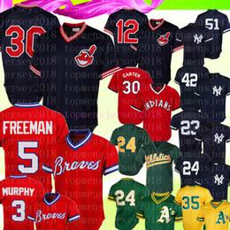 a3f2c649 Rétro Cleveland 30 Indiens Joe Carter 12 Maillot Francisco Lindor 5 Freddie  Freeman Braves 23 Don Mattingly Yankees 24 Sanchez Baseball