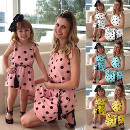 92c5b1c1 Mother And Daughter Summer Casual Dresses 2019 Family Matching Clothes Mommy  And Me Clothes Mom Daughter Dot Dress