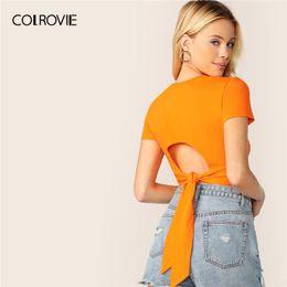 Korean Woman Crop T Shirt Australia - COLROVIE Neon Orange Solid Tie Back Sexy T Shirt Women Clothes 2019 Summer Korean Short Sleeve Slim Fit Tee Female Crop Tops