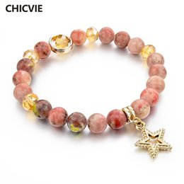 $enCountryForm.capitalKeyWord Australia - tone charm bracelets CHICVIE Natural Stone Charms Bracelet for Women Girls Gold Color Bead Chain Bracelets With Stones Star Ethnic Jewelr...