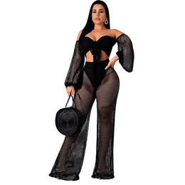 women cover ups UK - 2019 New Sexy Women Mesh Black Cover up Crop Summer Pullover Tops+Pants Hollow Out Trousers Wide Pants Outfit Set