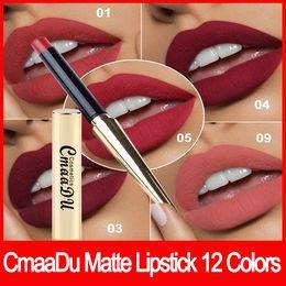 Tube bulleT online shopping - 2018 Lip makeup CmaaDu Colors Matte Lipstick Lip Waterproof Makeup Lasting Lip Stick Maquiagem with Gold Bullet Shape Tube