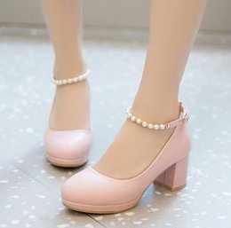 bb1a7678387 Cute Chunky Heel Shoes Canada - Spring new style Cute girl high heels Pink  leather shoes
