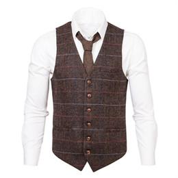 Brown Herringbone Suit Australia - VOBOOM Waistcoat Men Suit Vest Plaid Male Herringbone Coffee Brown Wool Blend Tweed Single-breasted Vests 007