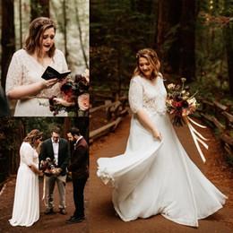 $enCountryForm.capitalKeyWord Australia - Plus Size Chiffon A Line Boho Wedding Dresses With Half Sleeves Lace Jacket V Neck Beach Bridal Gowns Custom Made Zipper Back Vestidos