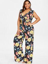 $enCountryForm.capitalKeyWord Australia - Wipalo Plus Size Floral Sleeveless Wide Leg Surplice Jumpsuit Pockets Plunging Neck Plunging Neck Wide Leg Jumpsuit Palazzo 4XL