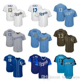 salute service jerseys NZ - Mens Women Youth Royals Jerseys 13 Perez Jersey Baseball Jersey White Gray Grey Blue Gold Green Salute to Service Players Weekend like