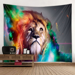 $enCountryForm.capitalKeyWord Australia - Colorful Red Eye Under Moon Lion Art Printed Tapestry Wall Hanging Bed Bedroom Decor Beach Towel Blanket Dorm Living Room Decor