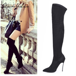 over knee stretch boots Canada - Rumbidzo 2019 Autumn Winter Women Boots Stretch Slim Thigh High Boots Over the Knee Boots High Heels Pointed Toe Sapatos