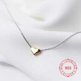 $enCountryForm.capitalKeyWord Australia - 14K Real Gold Plated Heart 100% 925 Sterling Silver Necklace Fine Jewelry for Women Gift Pure Silver Pendant Necklace
