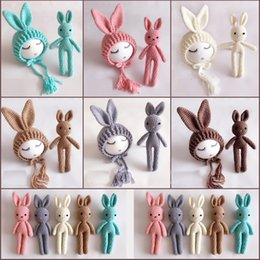 Discount handmade rabbit toys Baby Hats Neonatal Handmade Wool Rabbit Doll Long Ear Cap Baby Wool Toys Baby Long Ear Cap 58