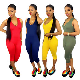 Knee Length Leggings Australia - Women's Jumpsuits & Rompers New Arrival sexy sleeveless V-Neck solid bodycon leggings fashion Knee Length Contrast Color summer clothes 330