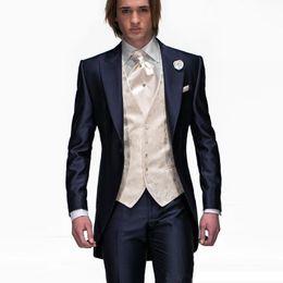 $enCountryForm.capitalKeyWord UK - Italian Man Wedding Suits 3 Pieces Slim Fit Jacket+Pants+Vest Navy Blue Custom Groom Tuxedo Suits for Wedding Prom Suit