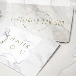 2Pcs Set Fashion Gold Birthday Card Marble Cards With Envelope Gift Christmas New Year Invation Wedding Thank You Greeting
