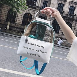 Fashion Prints Book Australia - Printing Letter Clear Transparent Backpack Jelly Candy Color Schoolbag For Teenage Girls Leather Women Student Fashion Book Bag Y19052202