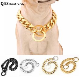 pitbull dogs 2020 - 15mm Strong Silver Gold Stainless Steel Dog Collar Dogs Training Choke Chain Collars for Large Dogs Pitbull Necklace che