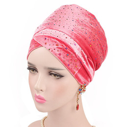 $enCountryForm.capitalKeyWord Australia - Muslim Shine Crystal Stretch Turban Ruffle Hair Hats Beanie Bandanas Scarf Head Wrap Headwear for Women 89