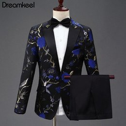 Red Blue Suits Australia - New Design Mens Stylish Embroidery Royal Blue Green Red Floral Pattern Suits Stage Singer Wedding Groom Tuxedo Costume 2-piece Y