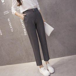 Discount office trouser for women Grey Work Stripe Fashion Pencil Pants for Women Spring High Waist Office Lady Vintage Trousers Femme Bottoms WF766