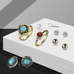 Vintage Green Jewelry Sets NZ - 2018 New Vintage Turquoise Earrings Ring Set Combination Fashion Antique Gold Pearl Crystal Earrings Jewelry Wholesale