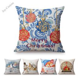 $enCountryForm.capitalKeyWord Australia - Cute Christmas Cartoon Sofa Decorative Art Throw Pillow Case Xmas reindeer Stockings Santa Painting Cotton Linen Cushion Cover